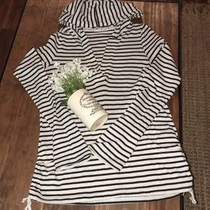 Roxy black and cream striped hooded sweater